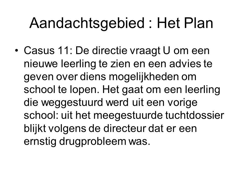 Aandachtsgebied : Het Plan Casus 11: De directie vraagt U om een nieuwe leerling te zien en een advies te geven over diens mogelijkheden om school te lopen.