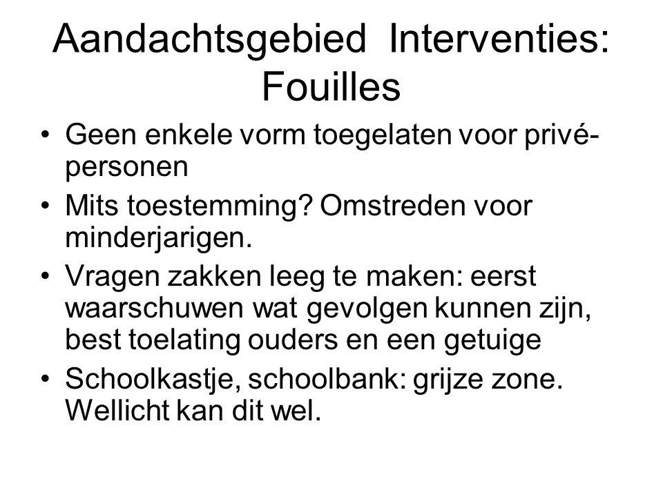 Aandachtsgebied Interventies: Fouilles Geen enkele vorm toegelaten voor privé- personen Mits toestemming.
