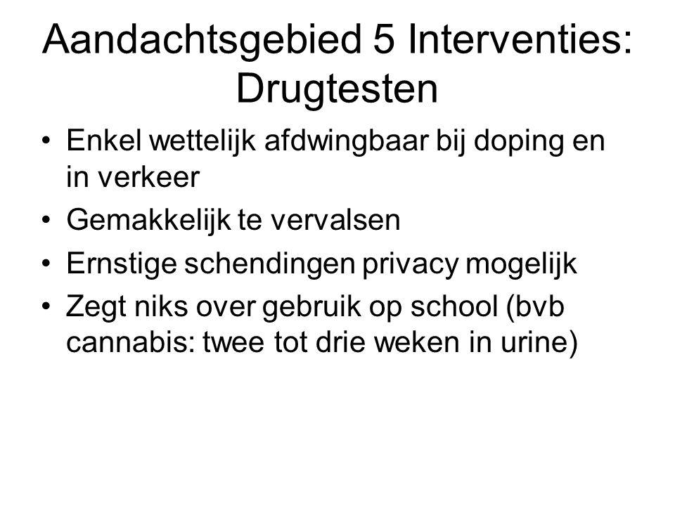 Aandachtsgebied 5 Interventies: Drugtesten Enkel wettelijk afdwingbaar bij doping en in verkeer Gemakkelijk te vervalsen Ernstige schendingen privacy mogelijk Zegt niks over gebruik op school (bvb cannabis: twee tot drie weken in urine)
