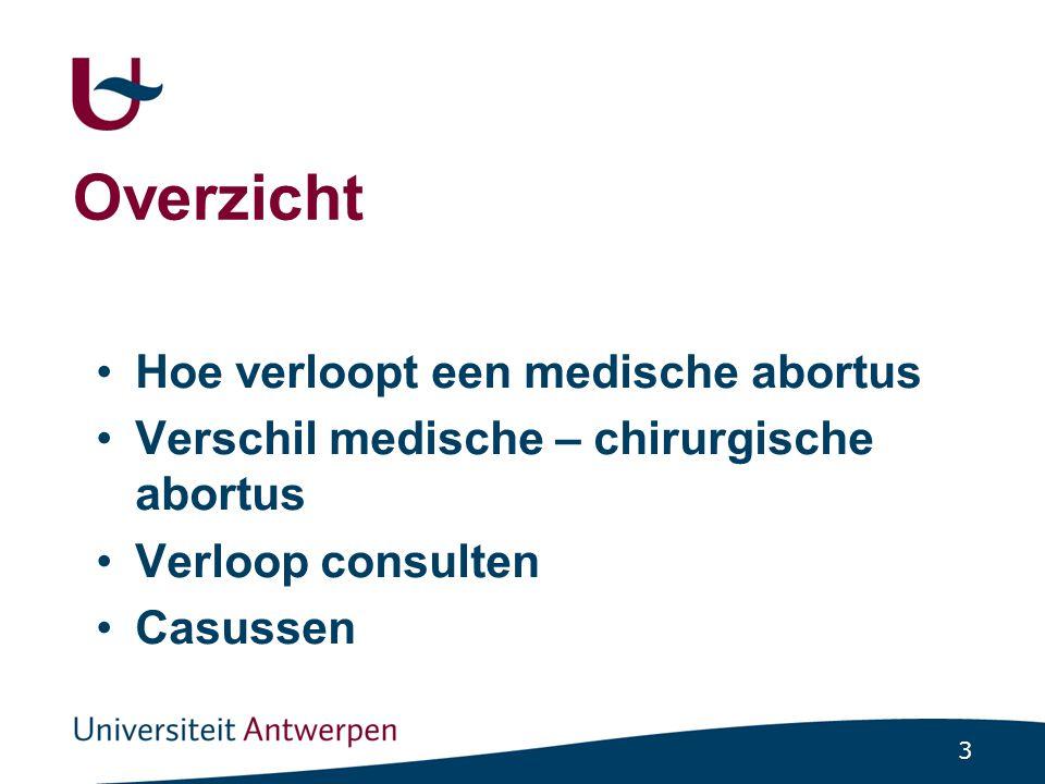 4 Medische abortus Vroege zwangerschapsonderbreking (gewoonlijk voor 9 weken zwangerschap) door medicatie ge ï nduceerd (mifepristone en progstaglandine) zonder chirurgische interventie Falen: indien een chirurgische abortus nodig is in een tweede tijd