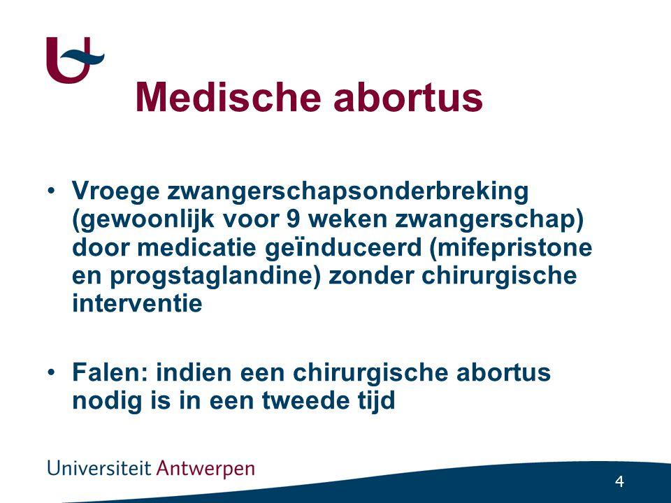 15 Medische abortus: prostaglandines Nieuwe afspraak na 36 tot 48 uur Duur 3 tot 4 uur Inname van 2 tabletten of vaginaal inbrengen 76% vruchtafstoting in het centrum 17% in de volgende dagen Nadien anticonceptie: gedurende 1 maand een combinatiepil