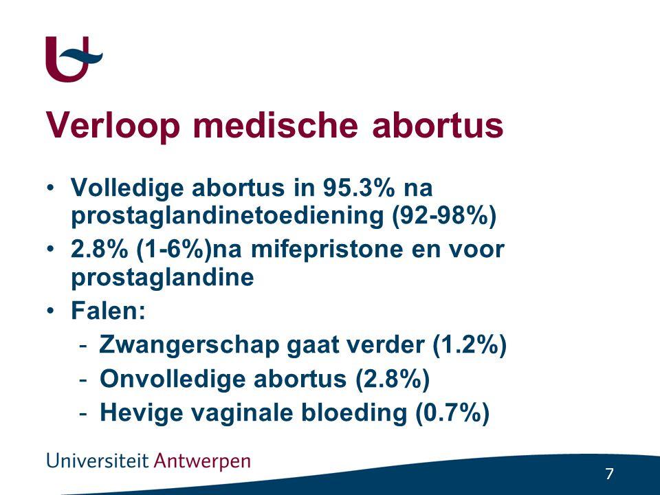 7 Verloop medische abortus Volledige abortus in 95.3% na prostaglandinetoediening (92-98%) 2.8% (1-6%)na mifepristone en voor prostaglandine Falen: -Z