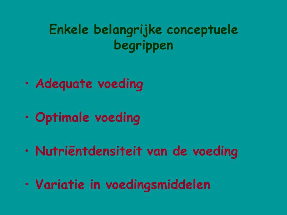 Enkele belangrijke conceptuele begrippen Adequate voeding Optimale voeding Nutriëntdensiteit van de voeding Variatie in voedingsmiddelen