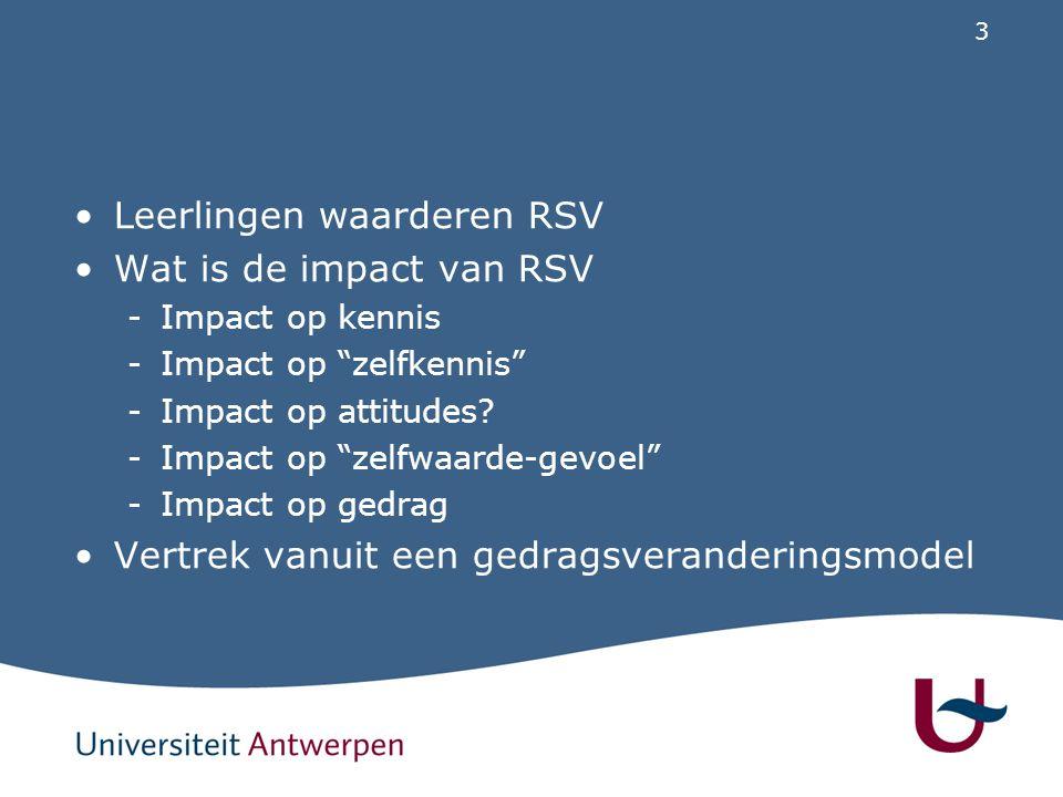 """3 Leerlingen waarderen RSV Wat is de impact van RSV -Impact op kennis -Impact op """"zelfkennis"""" -Impact op attitudes? -Impact op """"zelfwaarde-gevoel"""" -Im"""