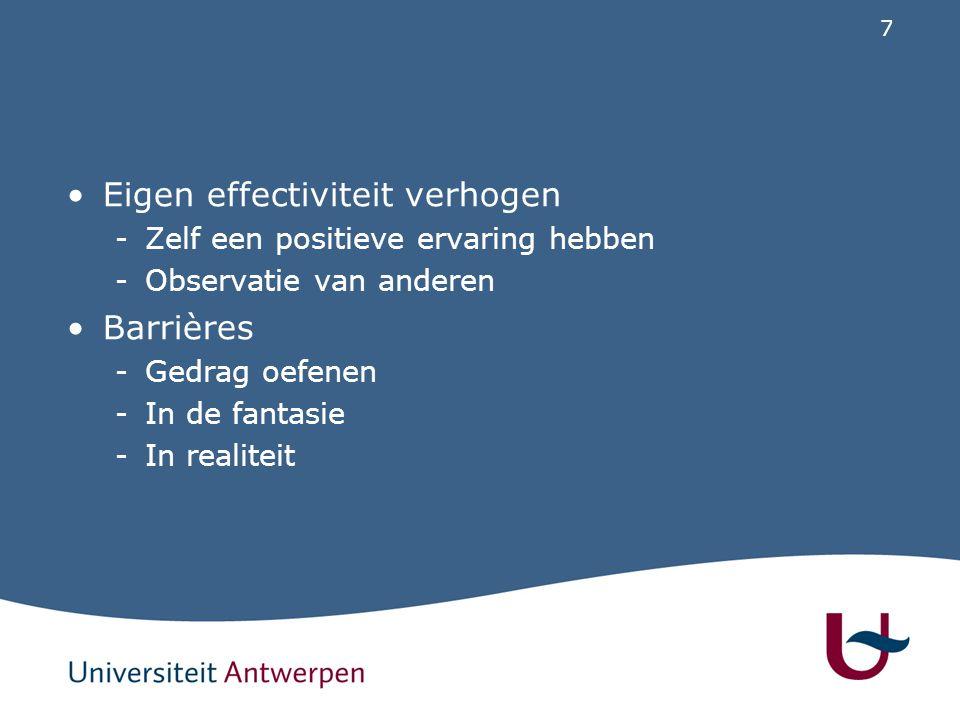 7 Eigen effectiviteit verhogen -Zelf een positieve ervaring hebben -Observatie van anderen Barrières -Gedrag oefenen -In de fantasie -In realiteit