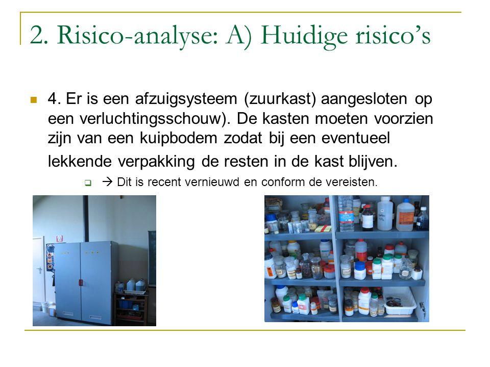 2. Risico-analyse: A) Huidige risico's 4. Er is een afzuigsysteem (zuurkast) aangesloten op een verluchtingsschouw). De kasten moeten voorzien zijn va