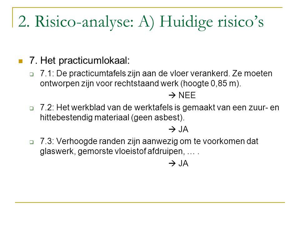 2. Risico-analyse: A) Huidige risico's 7. Het practicumlokaal:  7.1: De practicumtafels zijn aan de vloer verankerd. Ze moeten ontworpen zijn voor re