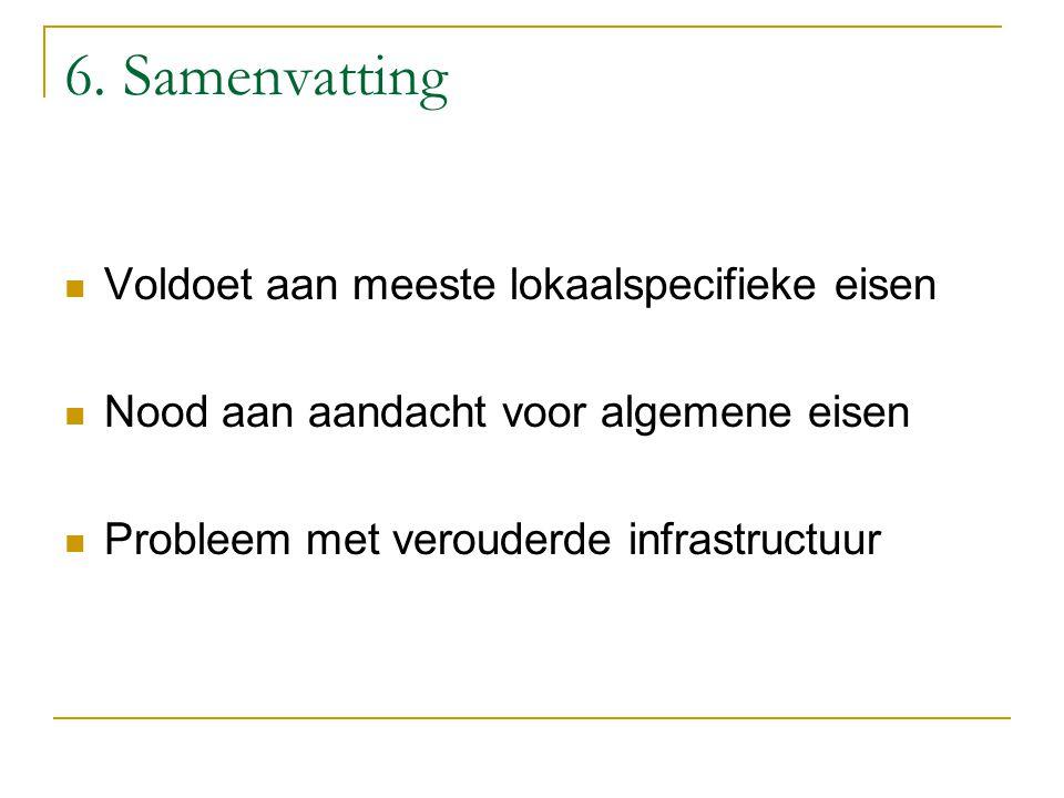 6. Samenvatting Voldoet aan meeste lokaalspecifieke eisen Nood aan aandacht voor algemene eisen Probleem met verouderde infrastructuur