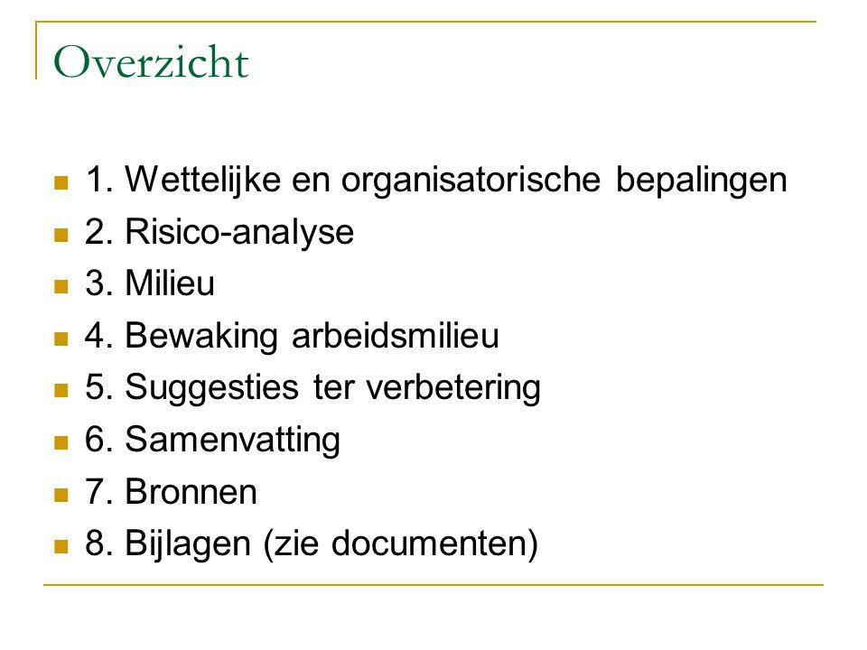 Overzicht 1. Wettelijke en organisatorische bepalingen 2. Risico-analyse 3. Milieu 4. Bewaking arbeidsmilieu 5. Suggesties ter verbetering 6. Samenvat