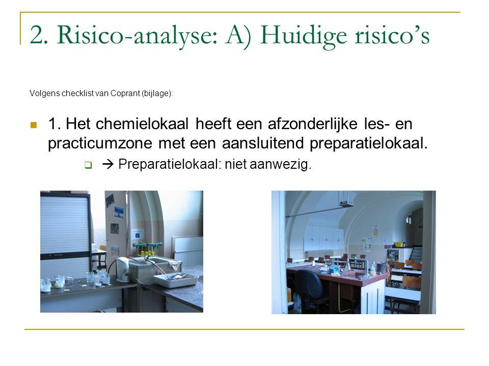 2. Risico-analyse: A) Huidige risico's Volgens checklist van Coprant (bijlage): 1. Het chemielokaal heeft een afzonderlijke les- en practicumzone met