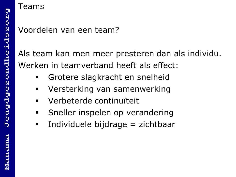 Teams Voordelen van een team.Als team kan men meer presteren dan als individu.