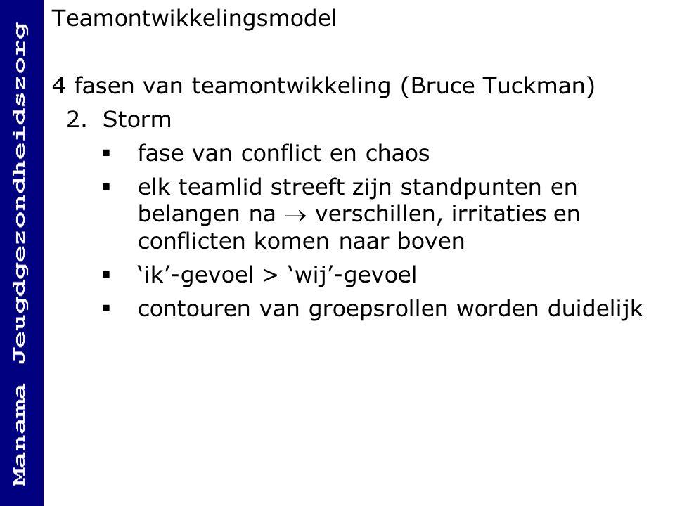 Teamontwikkelingsmodel 4 fasen van teamontwikkeling (Bruce Tuckman) 2.Storm  fase van conflict en chaos  elk teamlid streeft zijn standpunten en belangen na  verschillen, irritaties en conflicten komen naar boven  'ik'-gevoel > 'wij'-gevoel  contouren van groepsrollen worden duidelijk