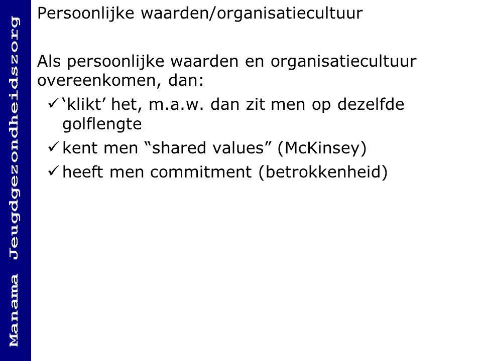 Persoonlijke waarden/organisatiecultuur Als persoonlijke waarden en organisatiecultuur overeenkomen, dan: 'klikt' het, m.a.w.