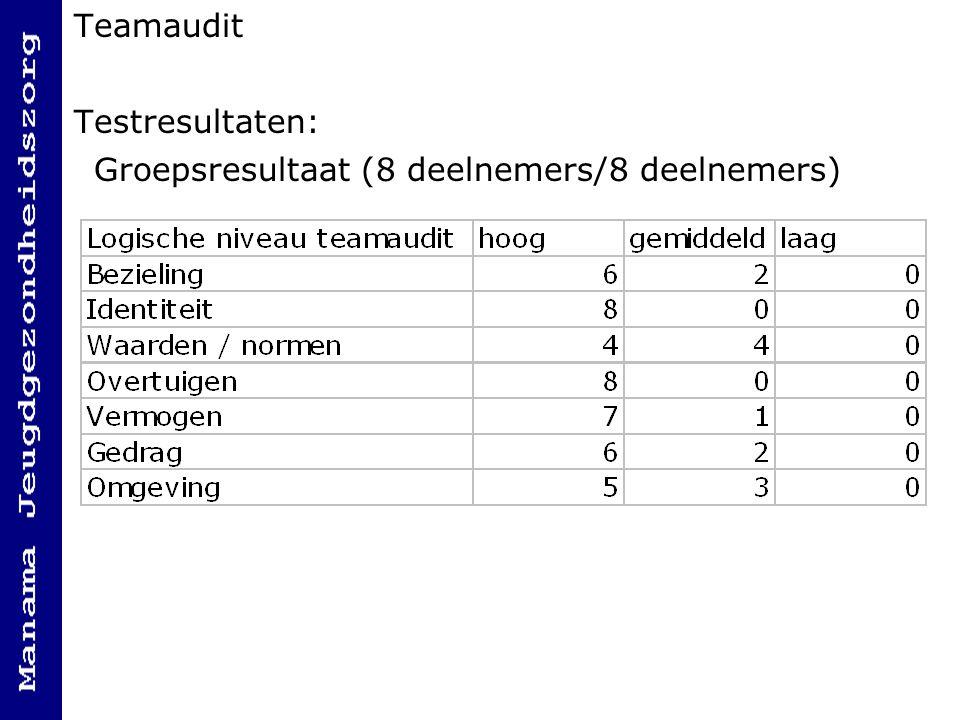 Teamaudit Testresultaten: Groepsresultaat (8 deelnemers/8 deelnemers)