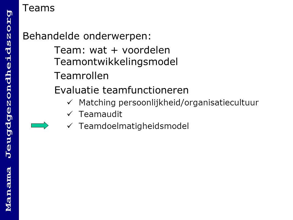 Teams Behandelde onderwerpen: Team: wat + voordelen Teamontwikkelingsmodel Teamrollen Evaluatie teamfunctioneren Matching persoonlijkheid/organisatiecultuur Teamaudit Teamdoelmatigheidsmodel