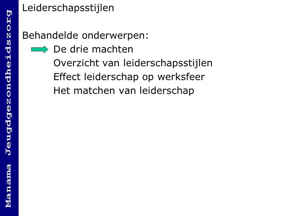 Leiderschapsstijlen Behandelde onderwerpen: De drie machten Overzicht van leiderschapsstijlen Effect leiderschap op werksfeer Het matchen van leiderschap