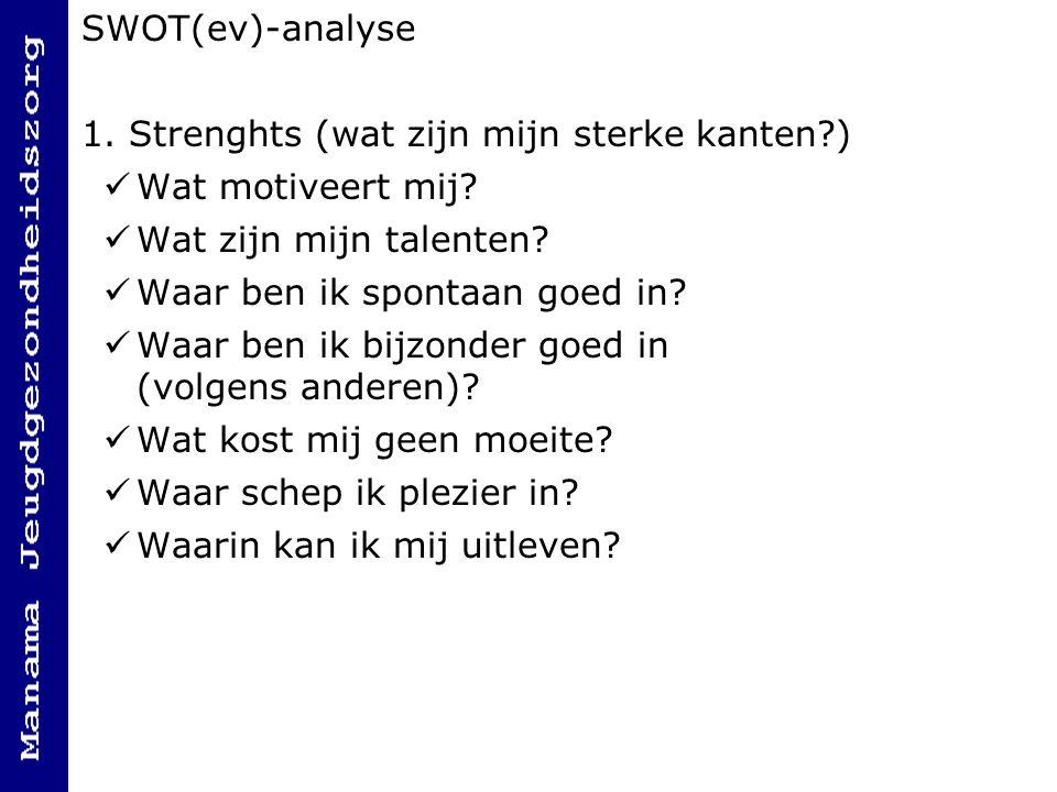 SWOT(ev)-analyse 1.Strenghts (wat zijn mijn sterke kanten?) Wat motiveert mij.