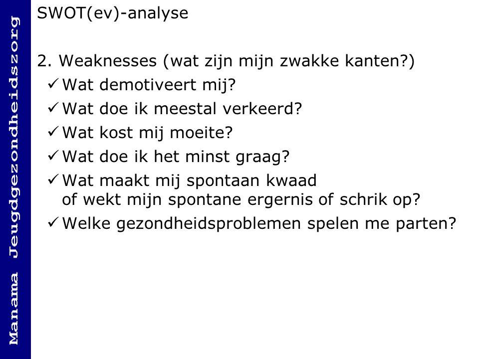 SWOT(ev)-analyse 2.Weaknesses (wat zijn mijn zwakke kanten?) Wat demotiveert mij.