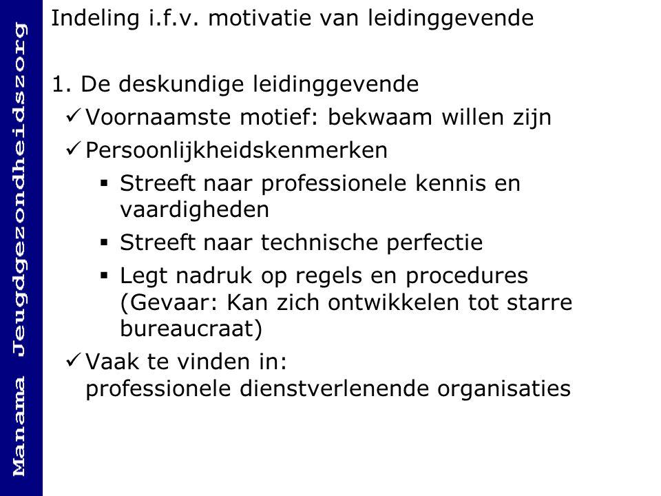Indeling i.f.v.motivatie van leidinggevende 1.
