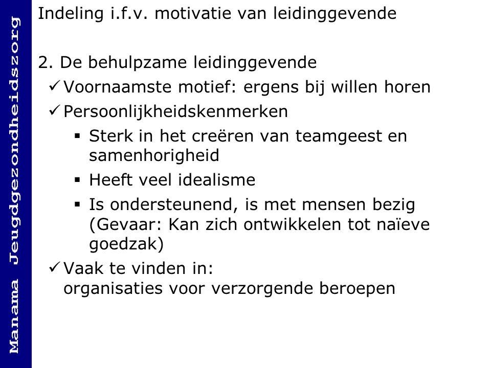 Indeling i.f.v.motivatie van leidinggevende 2.