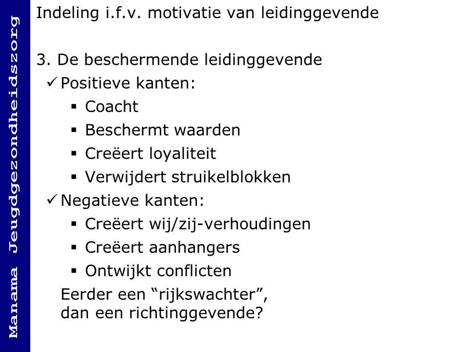 Indeling i.f.v.motivatie van leidinggevende 3.