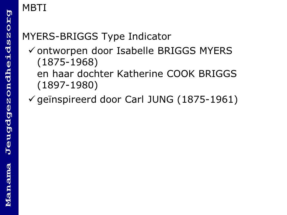 MBTI MYERS-BRIGGS Type Indicator ontworpen door Isabelle BRIGGS MYERS (1875-1968) en haar dochter Katherine COOK BRIGGS (1897-1980) geïnspireerd door Carl JUNG (1875-1961)