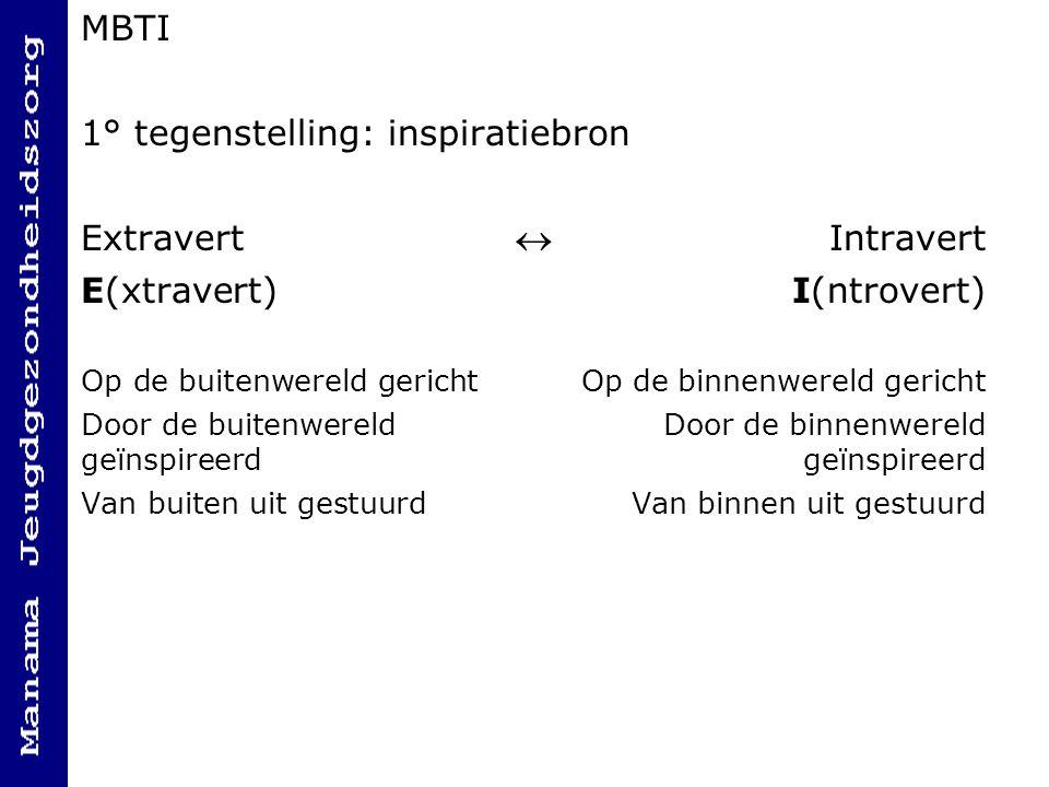MBTI 1° tegenstelling: inspiratiebron Extravert Intravert E(xtravert)I(ntrovert) Op de buitenwereld gericht Op de binnenwereld gericht Door de buitenwereld Door de binnenwereld geïnspireerdgeïnspireerd Van buiten uit gestuurd Van binnen uit gestuurd