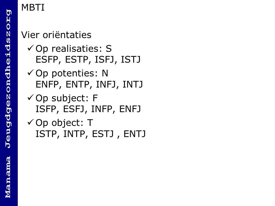 MBTI Vier oriëntaties Op realisaties: S ESFP, ESTP, ISFJ, ISTJ Op potenties: N ENFP, ENTP, INFJ, INTJ Op subject: F ISFP, ESFJ, INFP, ENFJ Op object: T ISTP, INTP, ESTJ, ENTJ