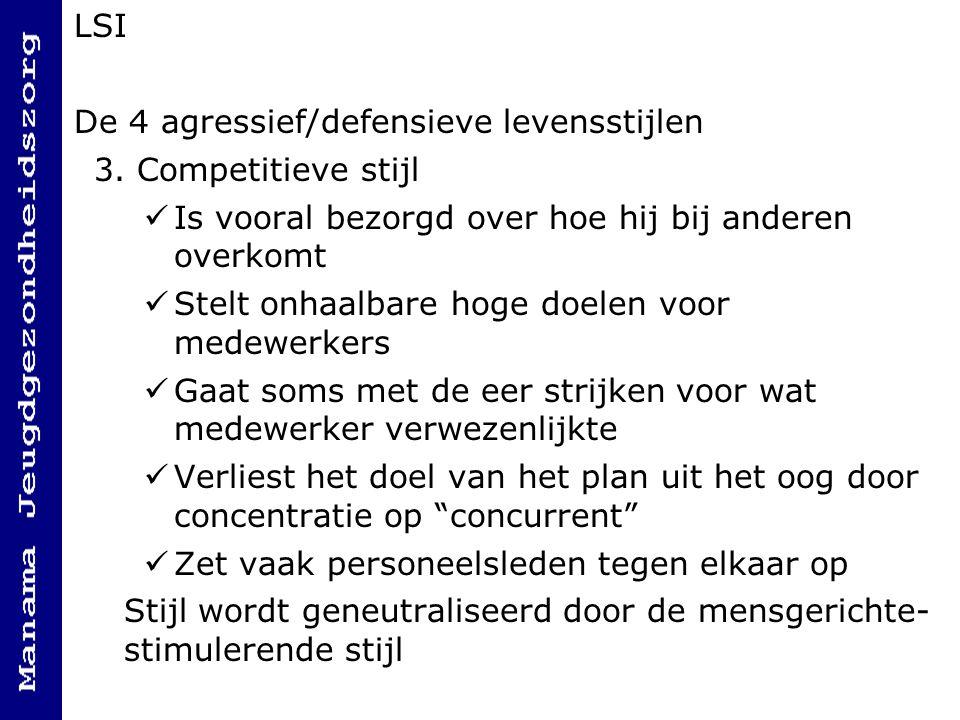 LSI De 4 agressief/defensieve levensstijlen 3.
