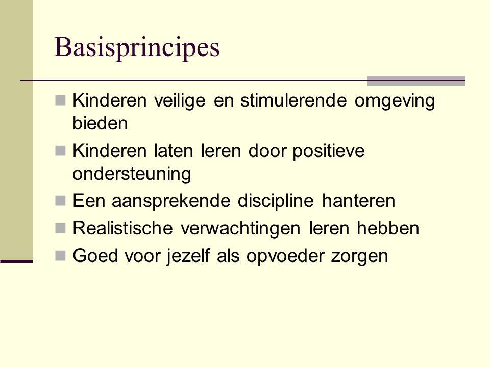 Basisprincipes Kinderen veilige en stimulerende omgeving bieden Kinderen laten leren door positieve ondersteuning Een aansprekende discipline hanteren