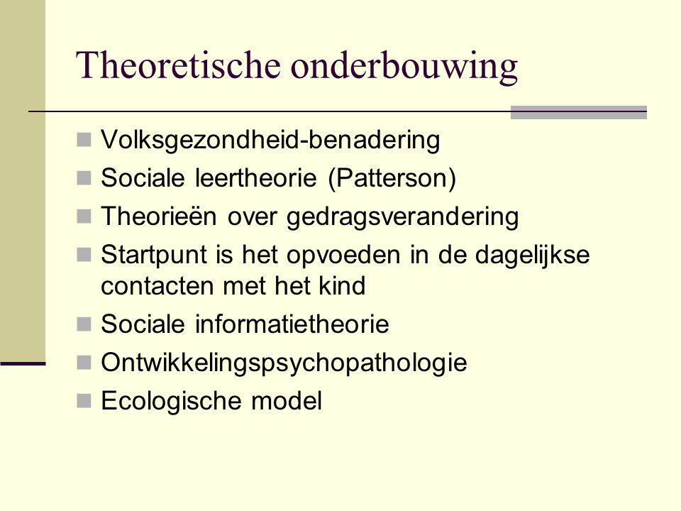 Theoretische onderbouwing Volksgezondheid-benadering Sociale leertheorie (Patterson) Theorieën over gedragsverandering Startpunt is het opvoeden in de