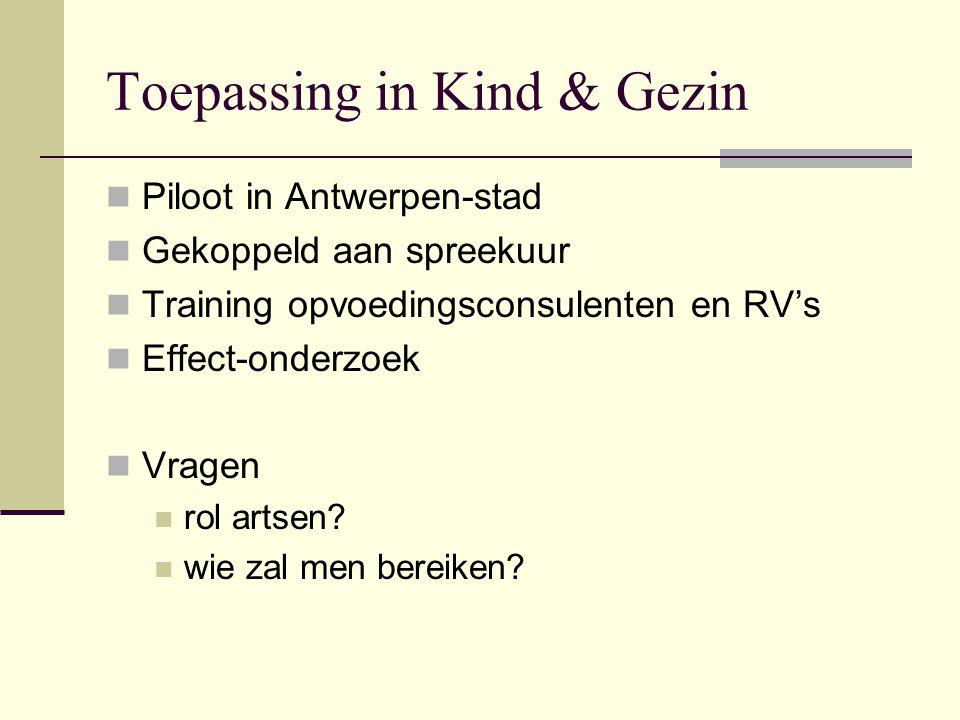 Toepassing in Kind & Gezin Piloot in Antwerpen-stad Gekoppeld aan spreekuur Training opvoedingsconsulenten en RV's Effect-onderzoek Vragen rol artsen?