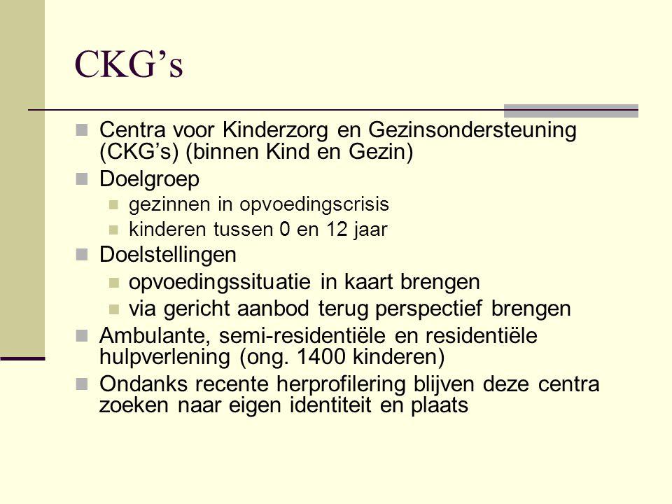 CKG's Centra voor Kinderzorg en Gezinsondersteuning (CKG's) (binnen Kind en Gezin) Doelgroep gezinnen in opvoedingscrisis kinderen tussen 0 en 12 jaar