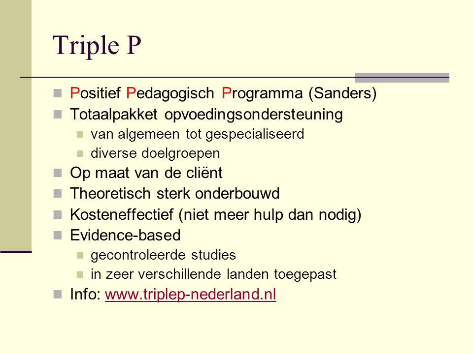 Triple P Positief Pedagogisch Programma (Sanders) Totaalpakket opvoedingsondersteuning van algemeen tot gespecialiseerd diverse doelgroepen Op maat va