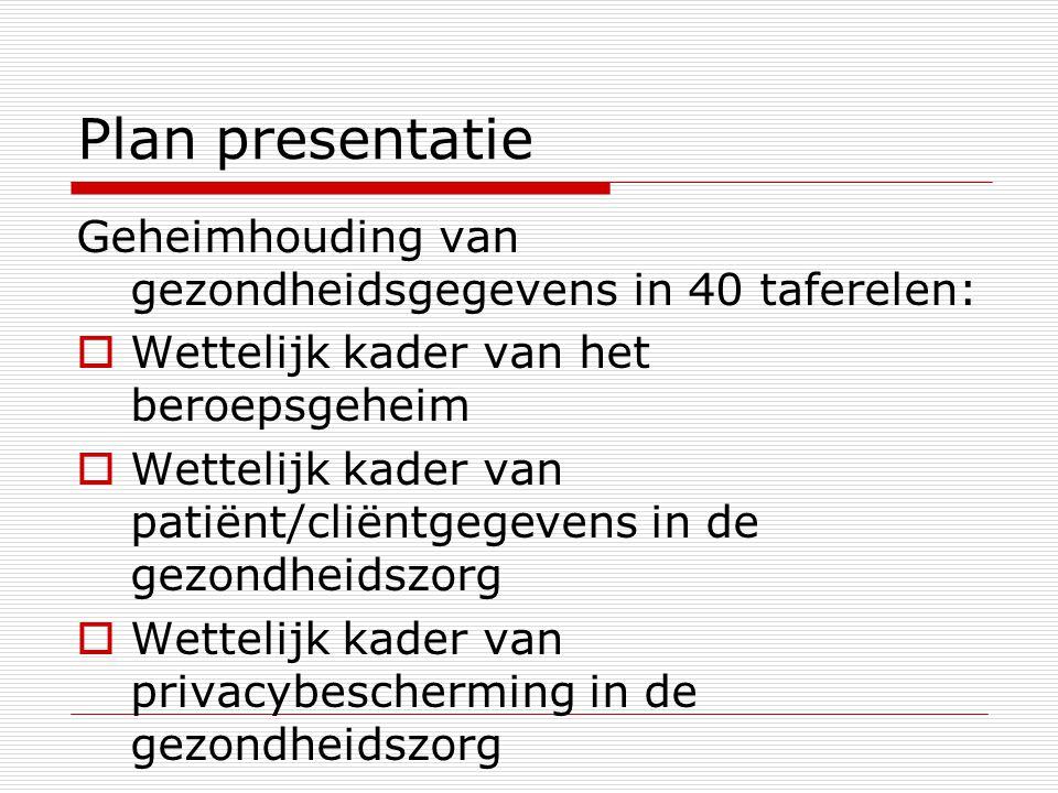 Plan presentatie Geheimhouding van gezondheidsgegevens in 40 taferelen:  Wettelijk kader van het beroepsgeheim  Wettelijk kader van patiënt/cliëntge