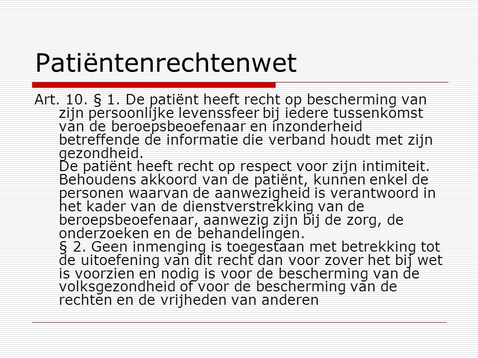 Patiëntenrechtenwet Art. 10. § 1. De patiënt heeft recht op bescherming van zijn persoonlijke levenssfeer bij iedere tussenkomst van de beroepsbeoefen