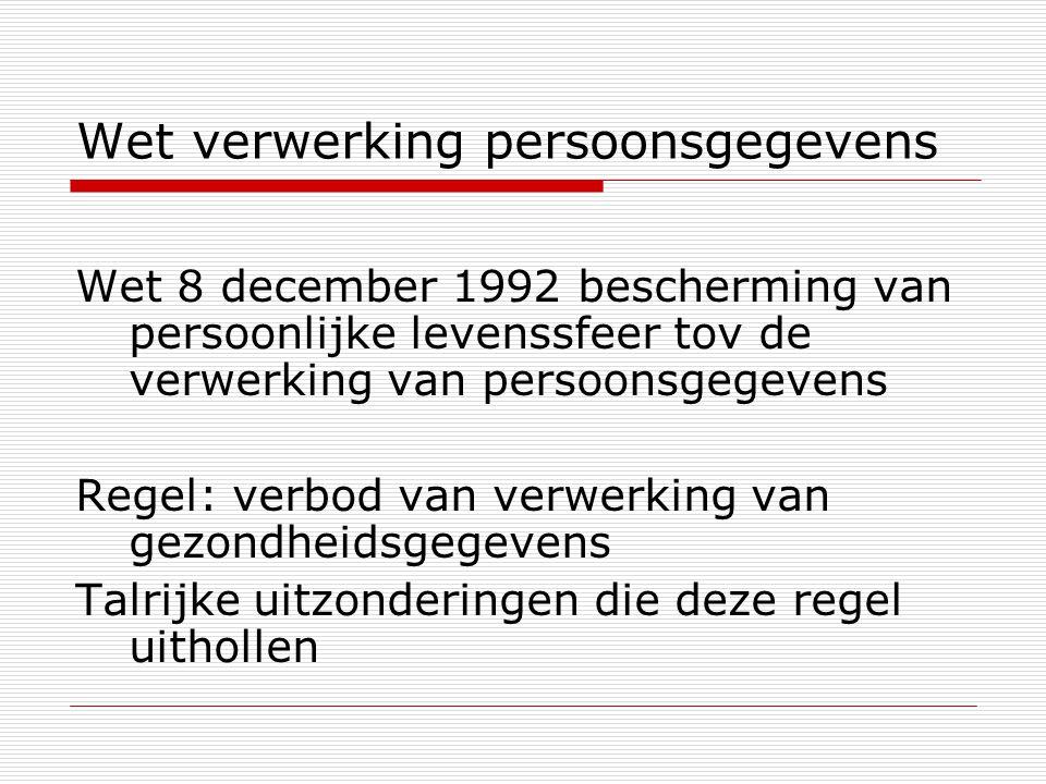 Wet verwerking persoonsgegevens Wet 8 december 1992 bescherming van persoonlijke levenssfeer tov de verwerking van persoonsgegevens Regel: verbod van