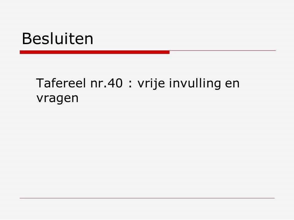 Besluiten Tafereel nr.40 : vrije invulling en vragen