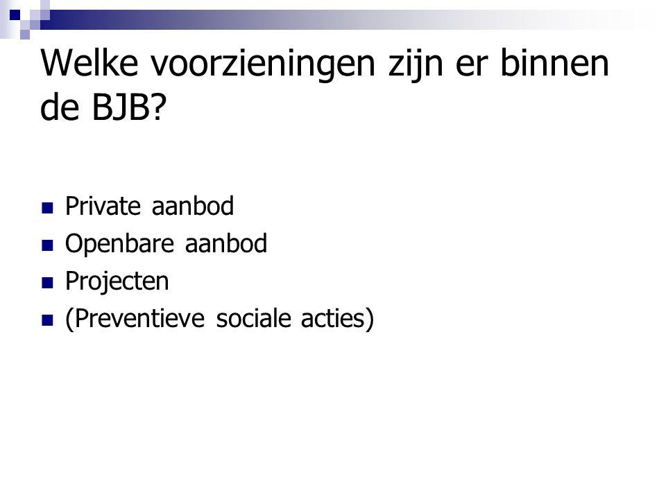 Welke voorzieningen zijn er binnen de BJB? Private aanbod Openbare aanbod Projecten (Preventieve sociale acties)