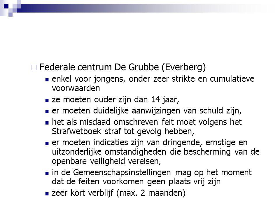  Federale centrum De Grubbe (Everberg) enkel voor jongens, onder zeer strikte en cumulatieve voorwaarden ze moeten ouder zijn dan 14 jaar, er moeten