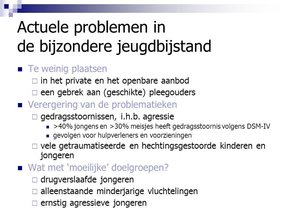 Actuele problemen in de bijzondere jeugdbijstand Te weinig plaatsen  in het private en het openbare aanbod  een gebrek aan (geschikte) pleegouders V