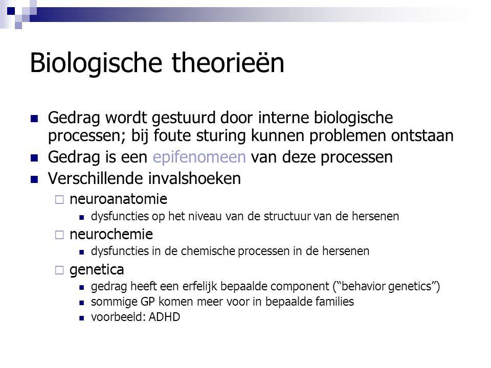 Biologische theorieën Gedrag wordt gestuurd door interne biologische processen; bij foute sturing kunnen problemen ontstaan Gedrag is een epifenomeen