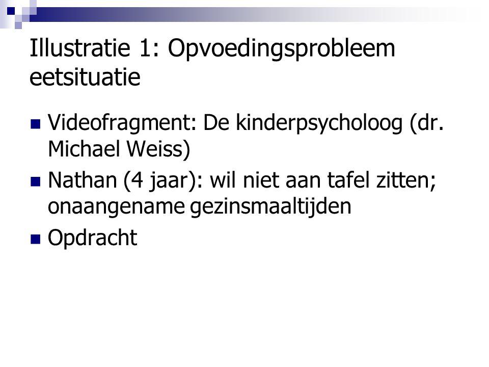 Illustratie 1: Opvoedingsprobleem eetsituatie Videofragment: De kinderpsycholoog (dr. Michael Weiss) Nathan (4 jaar): wil niet aan tafel zitten; onaan