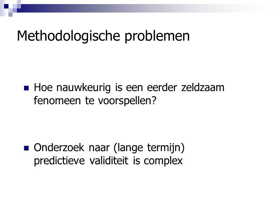 Methodologische problemen Hoe nauwkeurig is een eerder zeldzaam fenomeen te voorspellen? Onderzoek naar (lange termijn) predictieve validiteit is comp