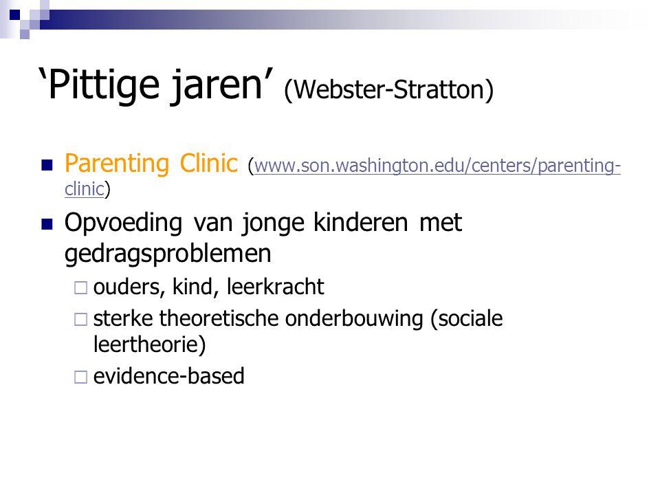'Pittige jaren' (Webster-Stratton) Parenting Clinic (www.son.washington.edu/centers/parenting- clinic)www.son.washington.edu/centers/parenting- clinic