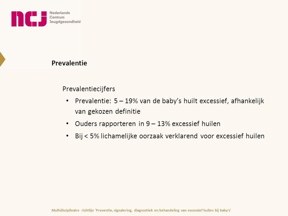 Langdurig excessief huilen (> 4 maanden) Kan leiden tot aanhoudende verstoorde interactie tussen ouders en kind en/of andere problemen op medisch of psychosociaal vlak Hogere kans op: -problemen bij voeden en slapen -lichte ontwikkelingsachterstand (fijne motoriek) -gedragsproblemen (hyperactief of opstandig gedrag) -lichamelijke problemen -Prenatale stress, postnatale conflicten en psychopathologie bij ouders -depressieve gevoelens bij ouder(s) Multidisciplinaire richtlijn Preventie, signalering, diagnostiek en behandeling van excessief huilen bij baby s