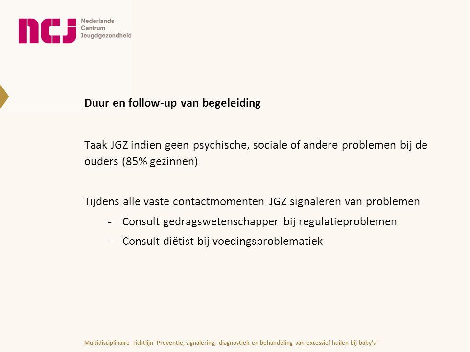 Duur en follow-up van begeleiding Taak JGZ indien geen psychische, sociale of andere problemen bij de ouders (85% gezinnen) Tijdens alle vaste contact