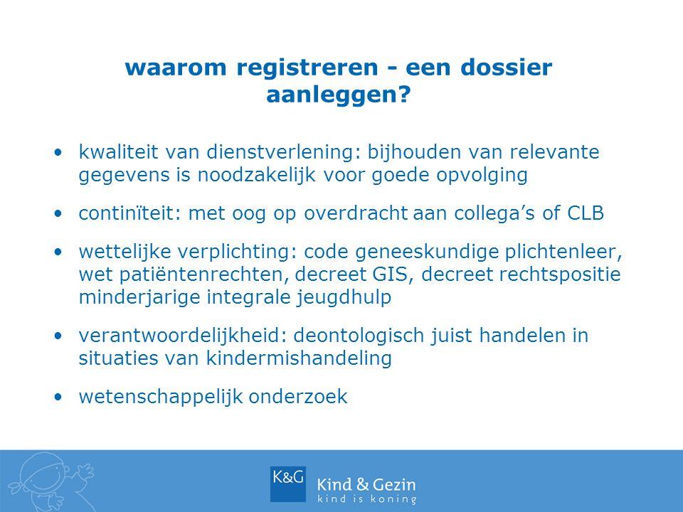 waarom registreren - een dossier aanleggen? kwaliteit van dienstverlening: bijhouden van relevante gegevens is noodzakelijk voor goede opvolging conti