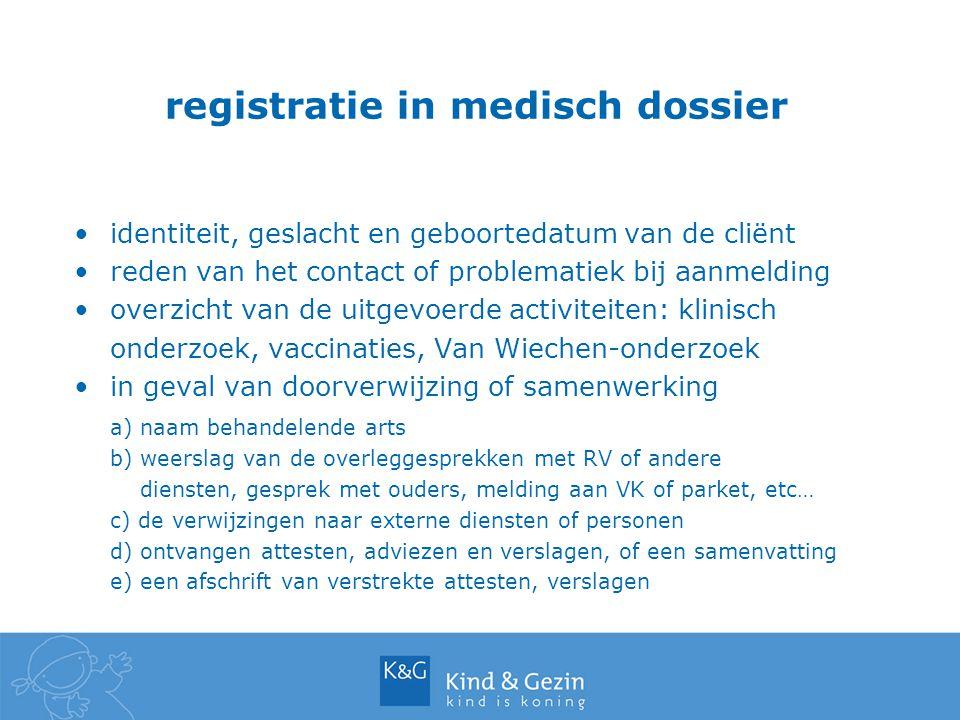 registratie in medisch dossier identiteit, geslacht en geboortedatum van de cliënt reden van het contact of problematiek bij aanmelding overzicht van