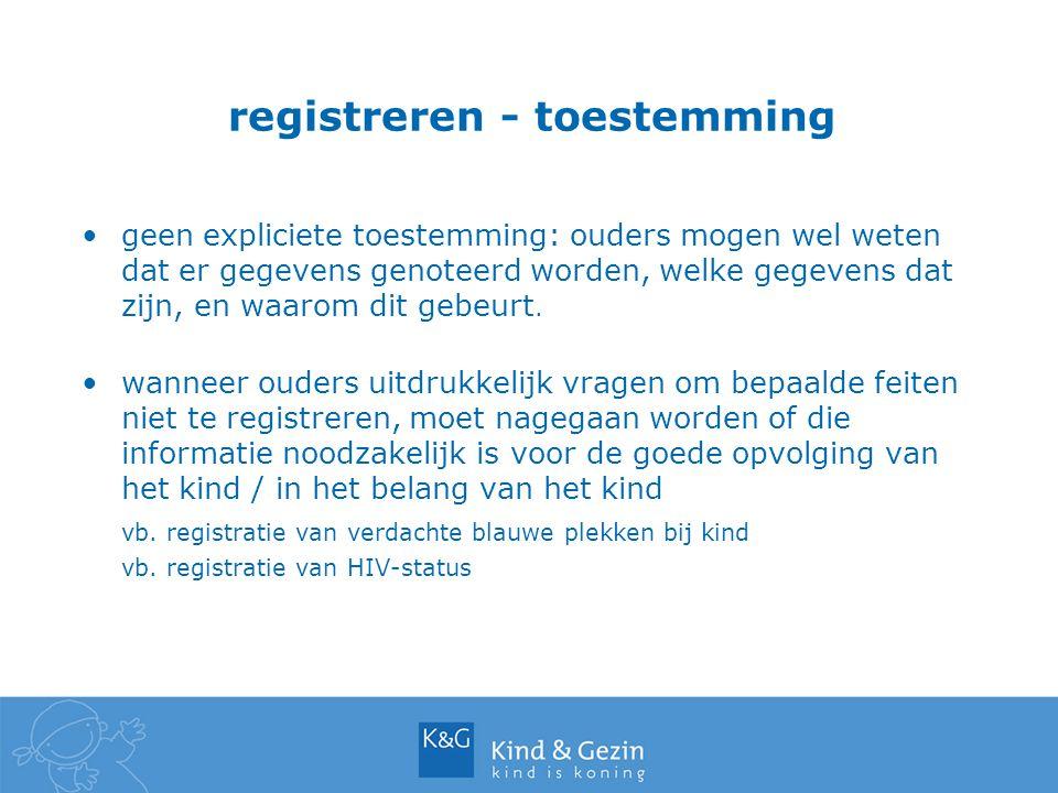 registreren - toestemming geen expliciete toestemming: ouders mogen wel weten dat er gegevens genoteerd worden, welke gegevens dat zijn, en waarom dit